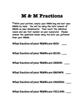 M & M Fractions and Graphing