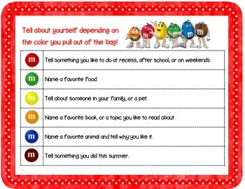 M & M Getting To Know You Activity