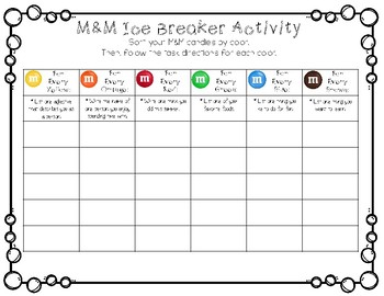 M&M Ice Breaker Getting to Know You Activity