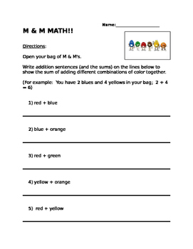 M & M Math addition and subtraction!