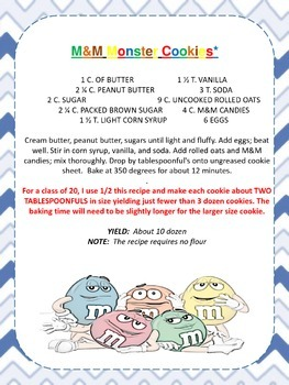 M & M Monster Cookie Math Activity
