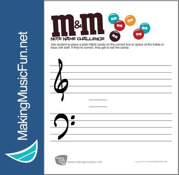 M&M Note Name Challenge   Note Name Worksheet (Digital Print)