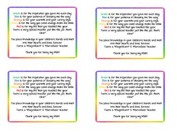 M&M Teacher Poem