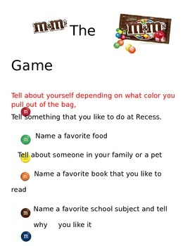 M & M question game