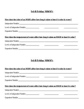 M&M's Sci fi Friday Idea Sheet
