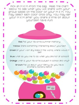M & M's Getting To Know You Activity- Great First Day Activity! 50% off!