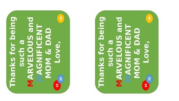 M&Ms Gift Tag For Parents (Editable)