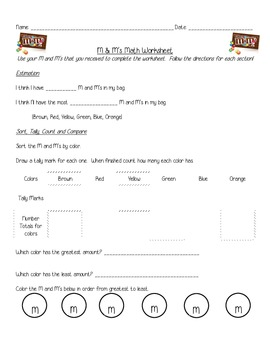M & M's Math Skills Worksheet