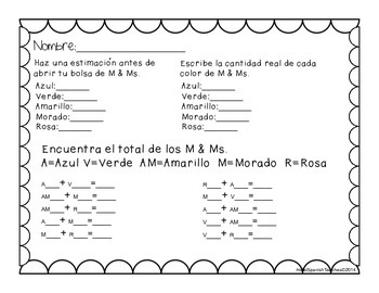 M & Ms graphing unit English and Spanish