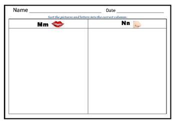 M and N; B and D Sorting Worksheets