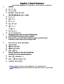M. S. Algebra Board Session 14,Common Core,Review,Quiz Bowl,Math Counts