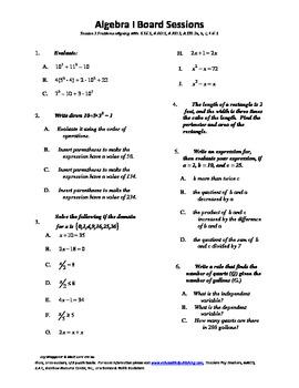 M. S. Algebra Board Session 1,Common Core,Review,Quiz Bowl,Math Counts