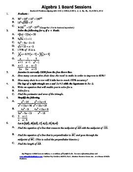 M. S. Algebra Board Session 20,Common Core,Review,Quiz Bowl,Math Counts