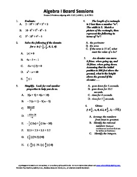 M. S. Algebra Board Session 3,Common Core,Review,Quiz Bowl,Math Counts