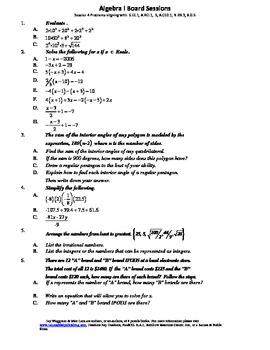 M. S. Algebra Board Session 4,Common Core,Review,Quiz Bowl,Math Counts