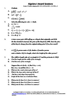 M. S. Algebra Board Session 7,Common Core,Review,Quiz Bowl