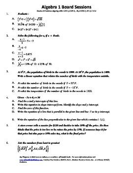 M. S. Algebra Board Session 9,Common Core,Review,Quiz Bowl