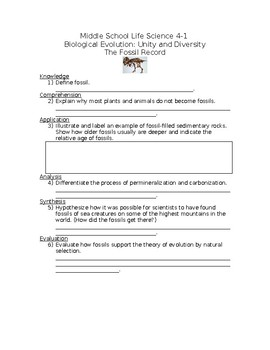 M.S. L.S.  4-1 The Fossil Record-Biological Evolution-Unity and Diversity NGSS