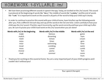 M SOUND Pizza Articulation Cards for Single & Multisyllabic Words & Sentences