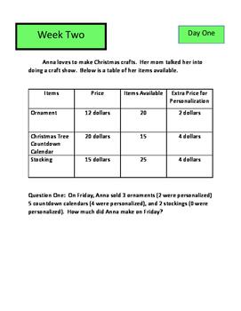 Math M-STEP Word Problems Performance Task Practice Grade 3