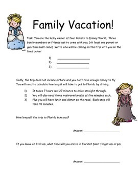 M-Step Math Activity Performance Task: Family Vacation