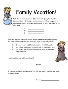M-Step Math Activity Performance Task: Family Vacation 3rd/4th grade