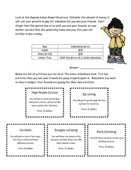 M-Step Math Activity Performance Task: The Adventure Park  3rd and 4th Grade