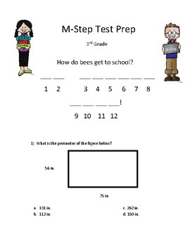 M-Step Math Activity Test Prep Review Game Mystery Joke 3rd grade