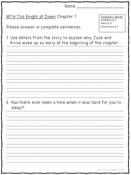 Magic Tree House #2 Knight at Dawn Text Dependent Comprehension Questions