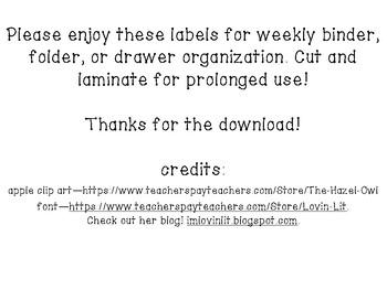 M,T,W,TH,F Labels for binder, folder or drawer organization.