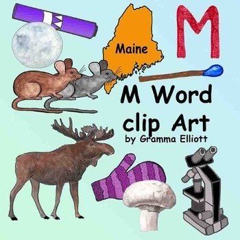 M Word Phonics Clip Art in Realistic Color and Black Line