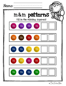 m and m pattern worksheet center by dribble monkey tpt
