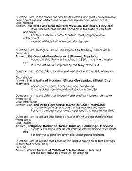 M is for Maryland trivia questions