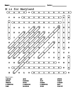 M is for Maryland word search answer key