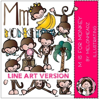 M is for Monkey by Melonheadz LINE ART