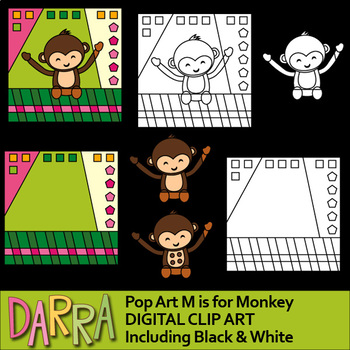 M is for Monkey clip art - interactive pop art clipart for