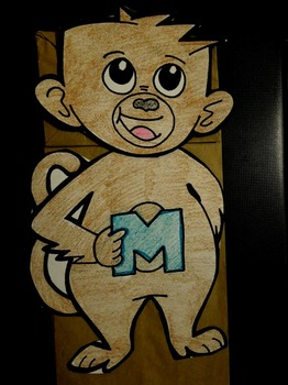 M is for Monkey paper bag puppet
