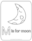 M is for Moon coloring page