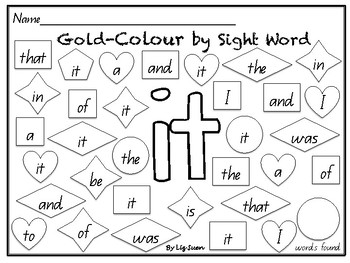 M100- Gold Colour by Sight Word