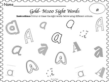 M100 Gold- Writing Practice Worksheets
