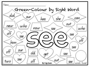 M100- Green Colour by Sight Word