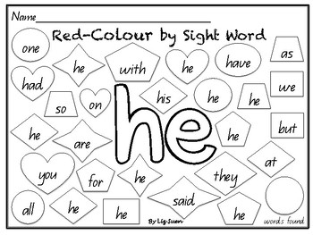 M100- Red Colour by Sight Word
