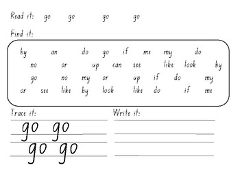M100W Blue sight word find
