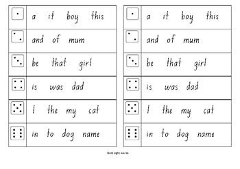 M100W Gold sight word roll and write