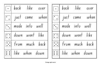 M100W Orange sight word roll and write