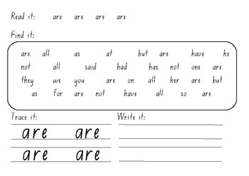 M100W Red sight word find