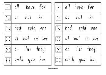 M100W Red sight word roll and write