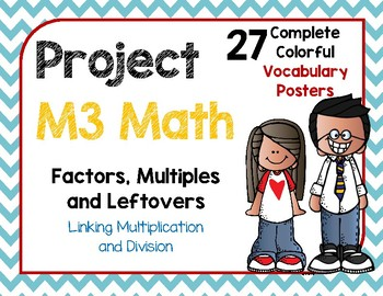 M3 Math: Factors, Multiples and Leftovers Vocabulary Posters
