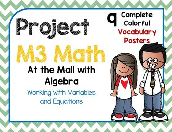 M3 Math Vocabulary Posters At the Mall with Algebra