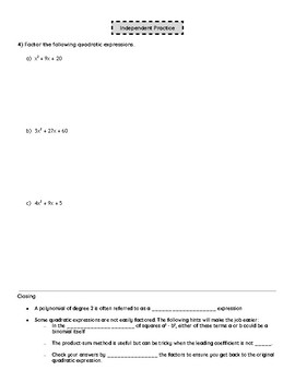 Eureka Math Notes: Algebra 1 Module 4 Lesson 3